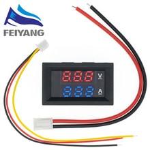 Voltímetro Digital, amperímetro de doble pantalla, Detector de voltaje, Panel de medición de corriente, amperímetro de 100 pulgadas, color rojo y azul, CC 0-0,28 V, 10A, 10 Uds.