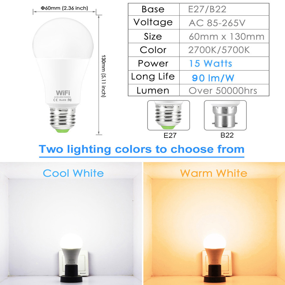 Image 5 - Dimmable 15W E27 WiFi Smart Light Bulb LED Lamp App Operate Alexa Google Assistant Voice Control Wake up Smart Lamp Night Light-in LED Bulbs & Tubes from Lights & Lighting