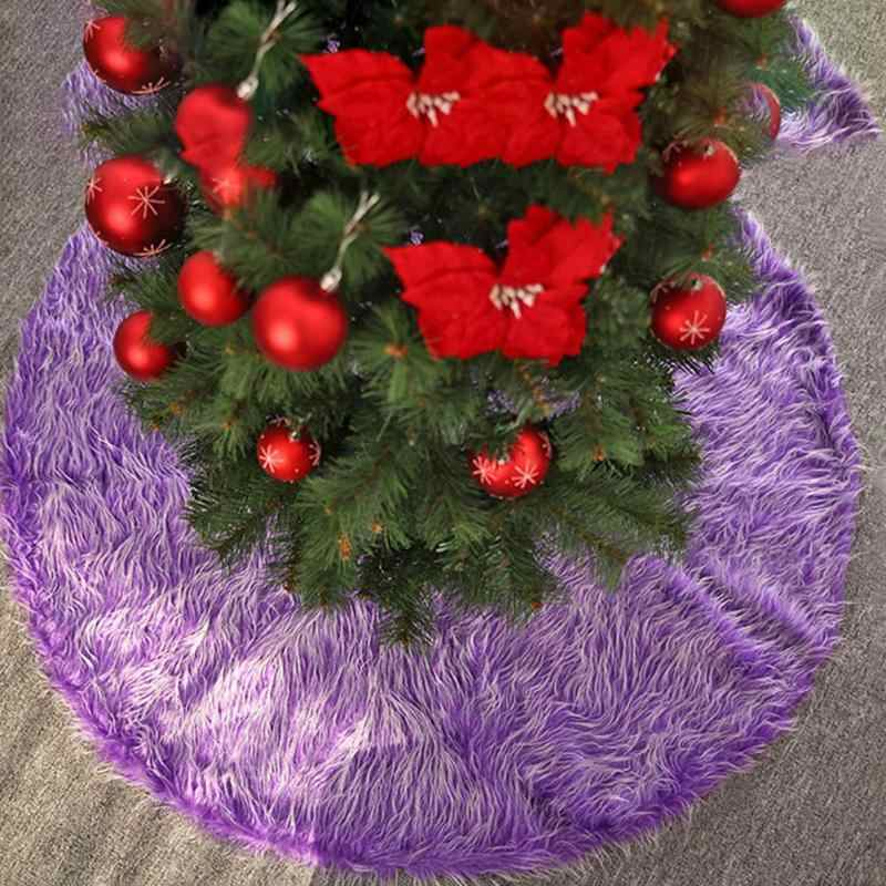 78/90/120cm Christmas Tree Skirts Round Purple/White Plush Apron Carpet New Year Xmas Decor Christmas Home Party Decor Dropship