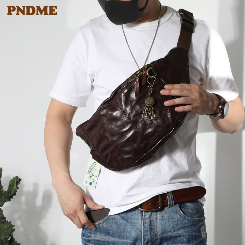 PNDME Fashion Vintage High Quality Genuine Leather Men's Chest Bag Casual Teens Large Soft Cowhide Waist Packs Messenger Bags