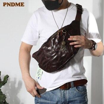 PNDME fashion vintage high quality genuine leather mens chest bag casual teens large soft cowhide waist packs messenger bags
