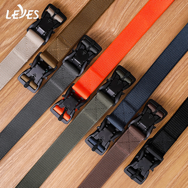 Army Style Combat Military Tactical Belt High Quality Nylon Buckle Automatic Man Long Belts Quick Release Canvas Belt Carabiner