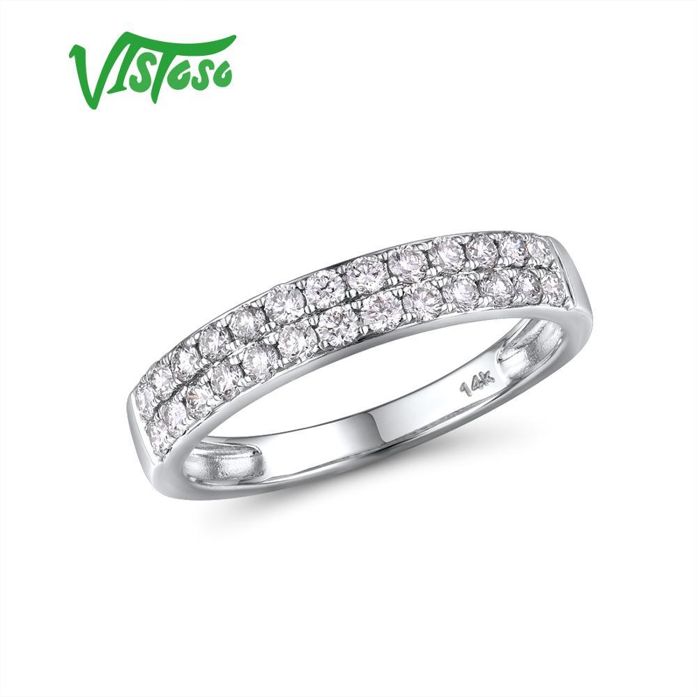 VISTOSO Genuine 14K 585 White Gold Sparkling Diamond Delicate Ring For Women Anniversary Engagement Fashion Trendy Fine Jewelry