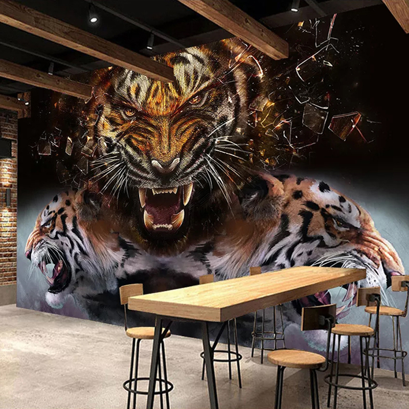 Custom 3D Photo Wallpaper Tiger Poster Wall Painting Retro Nostalgic Bar Restaurant Living Room Bedroom Mural Papel De Parede 3D