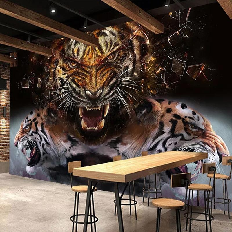 Custom 3D Photo Wallpaper Tiger Poster Wall Painting Retro Nostalgic Bar Restaurant Living Room Bedroom Mural Papel De Parede 3D