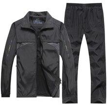 Chándal marca YIHUAHOO para hombre, chaqueta + Pantalones 4XL 5XL, conjunto de ropa de dos piezas 2 uds, sudadera informal, chándal, traje deportivo para hombre XH47