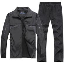 YIHUAHOO מותג אימונית גברים 4XL 5XL מעיל + מכנסיים 2PCS שתי חתיכה בגדי סט מזדמן סווטשירט אימונית ספורט חליפת גברים XH47
