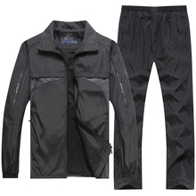 YIHUAHOO marque survêtement hommes 4XL 5XL veste + pantalon 2 pcs deux pièces ensemble de vêtements décontracté sweat survêtement Sport costume hommes XH47