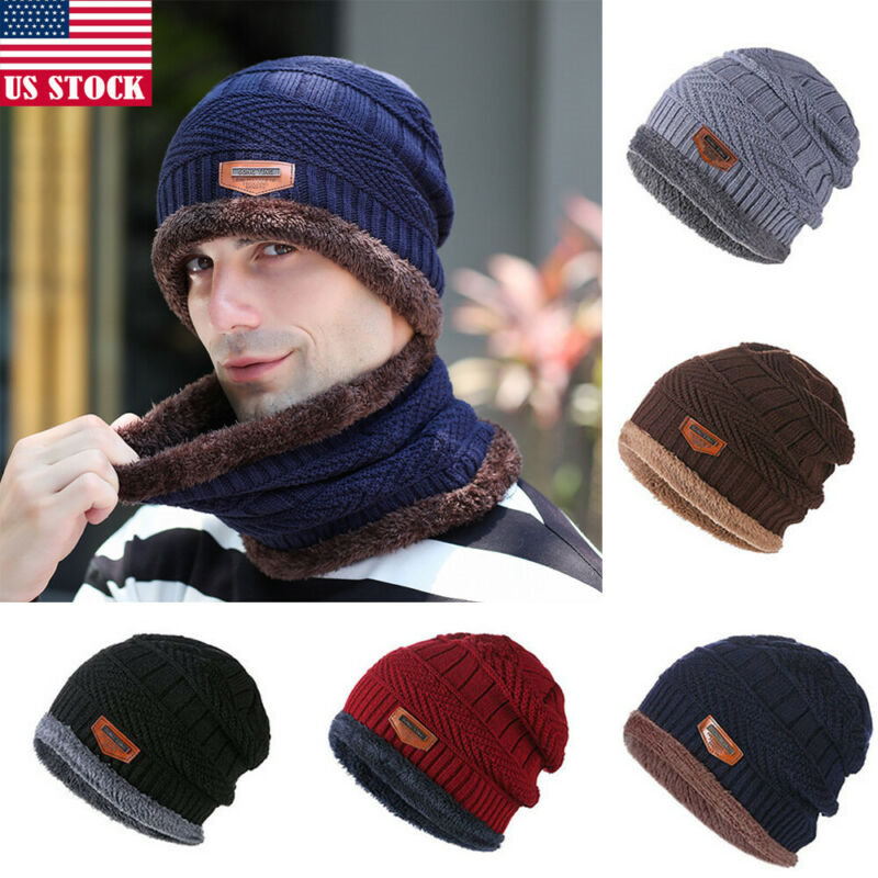 2Pcs Men Women Winter Warm Crochet Knit Baggy Beanie Wool Skull Hat Ski Cap Scarf Set