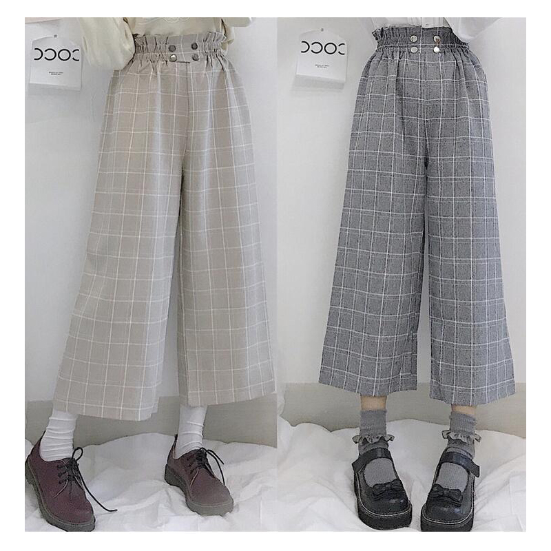 Japanese Lolita Style Women Wide Leg Pants Elastic Waist Apricot Gray Plaid Loose Trousers Cute Kawaii Student's Capris BB149