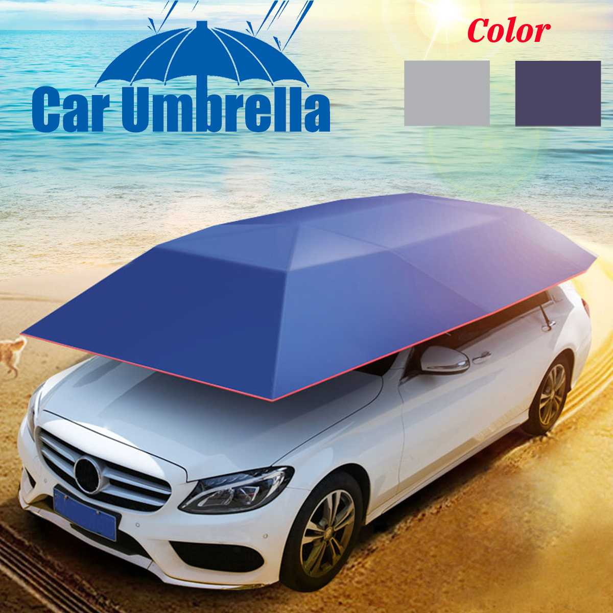 Portable Oxford Outdoor Car Vehicle Tent Car Umbrella Sun Shade Cover Cloth Polyester Cover Car Anti-UV Windproof Cover