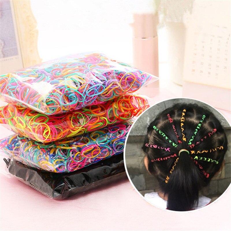 500/1000 шт красочные кольца для волос, Одноразовые эластичные резинки для волос, держатель для хвоста, Резиновая лента, резинки, Детские аксесс...