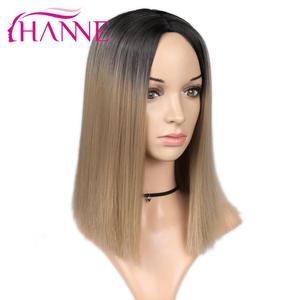 Image 4 - HANNE kısa düz sentetik peruk afro amerikan Bob peruk Ombre siyah/kahverengi sarışın/pembe peruk veya beyaz kadınlar