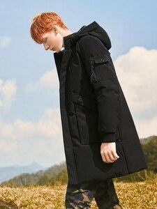 Image 3 - 2018 grosso inverno homens para baixo jaqueta marca roupas com capuz pato quente para baixo casaco masculino comprimento jaqueta preta