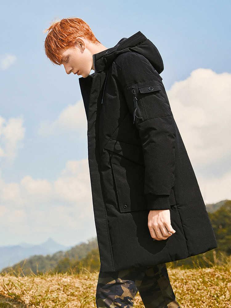 2018 толстый зимний мужской пуховик брендовая одежда с капюшоном Теплый пуховик Мужская длинная Черная куртка