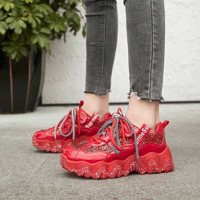 ผู้หญิง vulcanized รองเท้า 2020 Sequins Bling รองเท้าผ้าใบ Designer แพลตฟอร์ม Chunky รองเท้าผ้าใบผู้หญิงรองเท้ากีฬา Lace Up การจับคู่สี