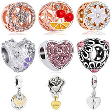 European Luxurious Bee Cherry Star Letter Hot Air Balloon Flower Heart Bead Fit Original Pandora Charms for Women DIY Jewelry(China)