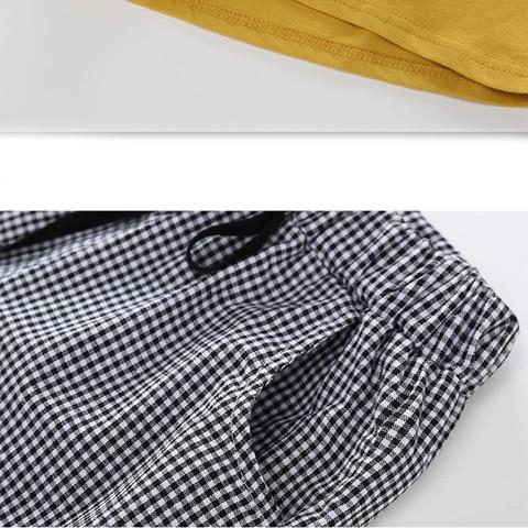 menina manga curta camiseta shorts 2