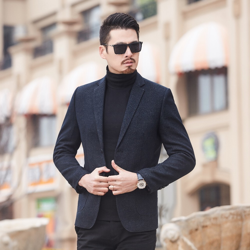 New High Quality Spring Autumn Fashion Trend Men Slim Two Button Long Sleeve  Suit Jacket / Male Business Casual  Blazers Coat