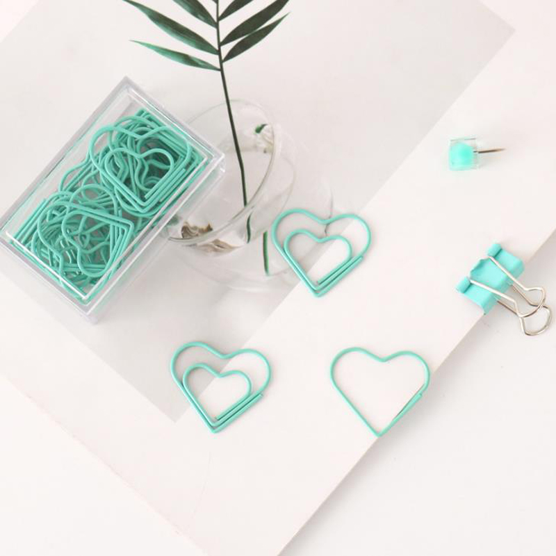 20 Pcs/pack Lovely Light Green Heart Shape Hollow Out Paper Clips Metal Bookmarks Photo Message Binder Clip Stationery Gifts