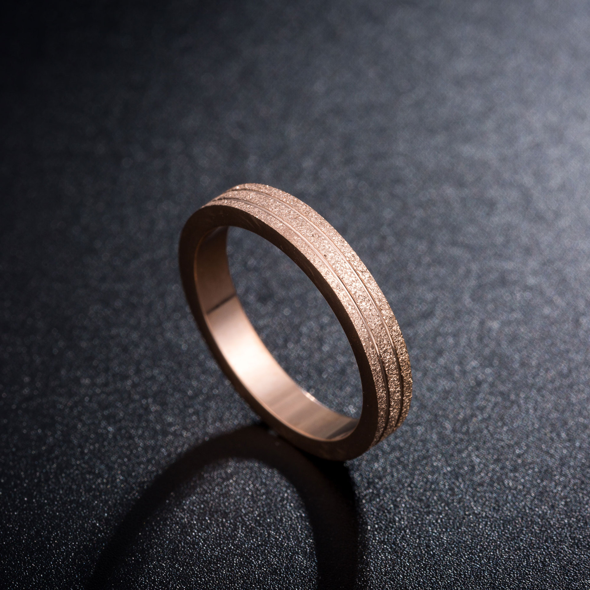 KNOCK  Top Quality Rose Gold Color Frosted Ring for Woman Girl Gift  316 L Stainless Steel Ring Never Fade  Jewelry 2