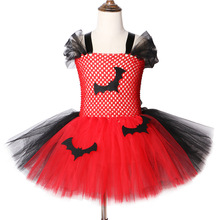 2019 Vampier Tutu Jurk Rood En Zwart Kids Halloween Kostuums Voor Meisjes Carnaval Party Dress knielange Tulle tutu Jurken
