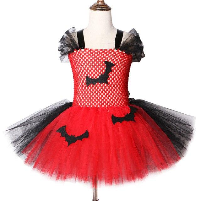 2019 Vestido Tutu Vermelho E Preto do Bastão de Vampiro Trajes de Halloween Para Crianças Meninas de Carnaval Vestido de Festa Na Altura Do Joelho comprimento de Tule vestidos de Tutu