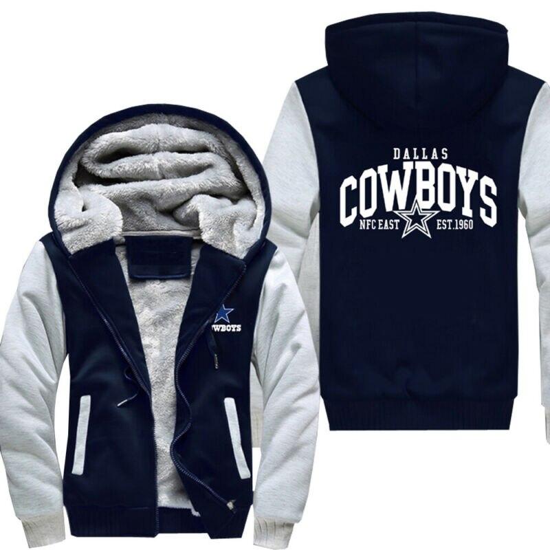 New Men's Dallas Cowboys Hoodie Zip Up Jacket Coat Winter Warm Men Thick Warm Waterproof Big Raccoon Fur Collar Baseball Jacket