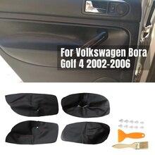 4 шт. Авто микроволокно кожа двери подлокотник Крышка для Volkswagen VW Bora Golf 4 02-06 автомобиля межкомнатные двери панели защитные наклейки