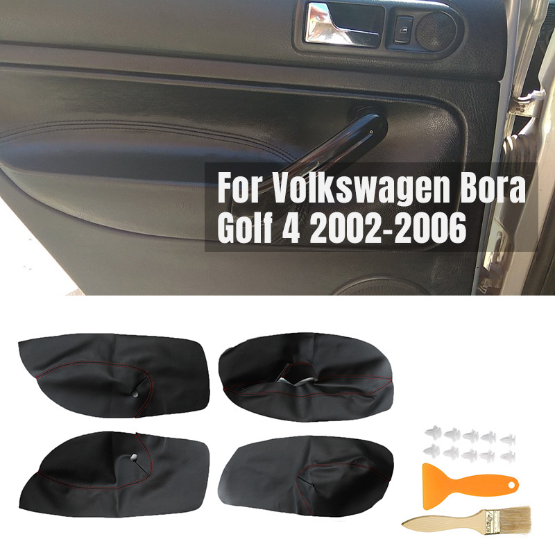 4PCS Auto Microfibre Leather Door Armrest Cover For Volkswagen VW Bora Golf 4 02-06 Car Interior Door Panel Protective Stickers