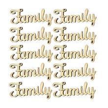 10 pièces bois pièces famille lettres décoration artisanat bricolage en bois embellissements découpés bois famille signe en bois mots