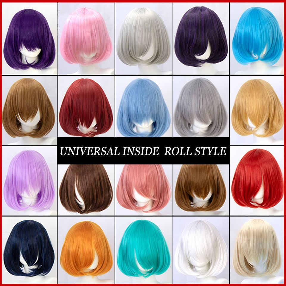 Cosplay Korte Bob Pruik Lolita Voor Vrouwen Blauw Roze Geel Synthetisch Haar Blond Puple Azure Rood Zwart Wit Rood Mumupi