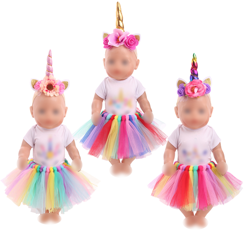 43 Cm Baby Dolls Clothes Newborn Unicorn Suit With Shoes Rainbow Lace Skirt Dress Baby Toys Fit American 18 Inch Girls Doll F746