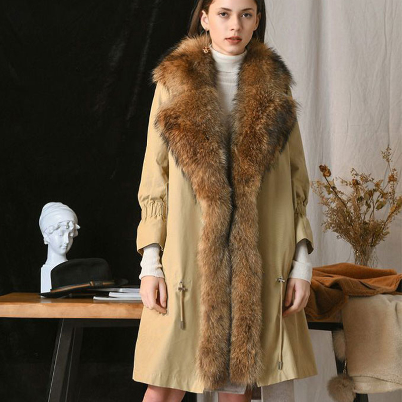 Coats Women Jackets Parkas Raccoon-Fur-Collar Rex-Rabbit-Fur Ladies Real Fashion Long