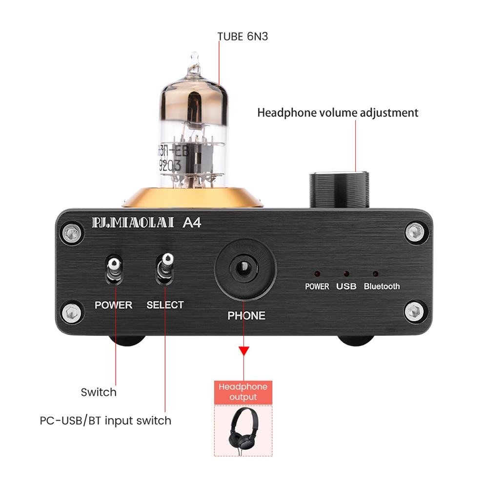 APTX Amplificador Bluetooth 5.0 Hifi USB DAC Audio Mini Amp Headphone Amplifier 6N3 Vacuum Tube Portable Earphone Amplifiers 2