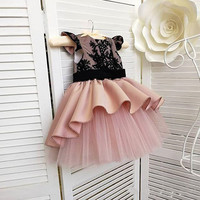 Customized Baby Girls Dresses for Birthday Black Top Lace Puffy Tulle Short Sleeves Flower Girl Dress Party Gowns for Kids
