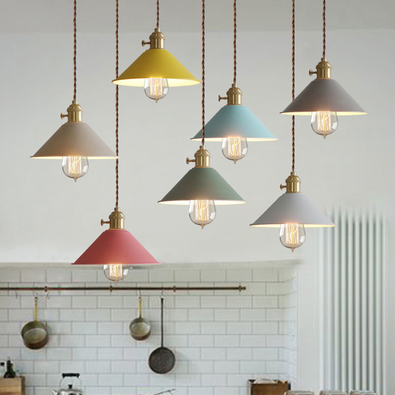 Nordic Style Iron Color Pendant Light Colorful Shade Iron Wood Lamp Hang Lighting Living Dinning Room Restaurant Hotel Ful Ing
