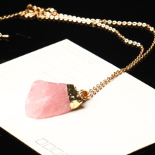 1PC Natural Crystal Rose Quartz Pendant Quartz Crystal Mineral Jewelry Healing Couple Necklace Stone Craft DIY