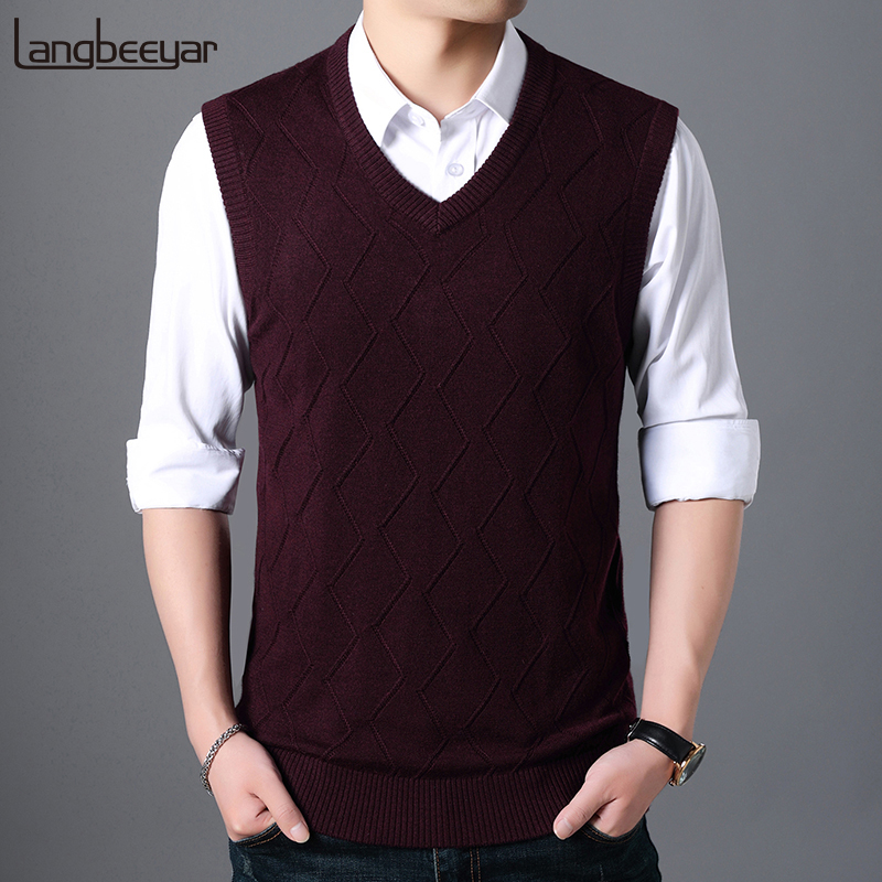 Fashion Brand Sweater Men Pullovers Vest Slim Fit Jumpers Knitting Sleeveless Jacquard Autumn Korean Style Casual Men Clothes