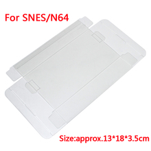 10 pcs a lot Clear transparent Protector Case CIB games plastic PET Protection Box for SNES For N 6 4 game boxes