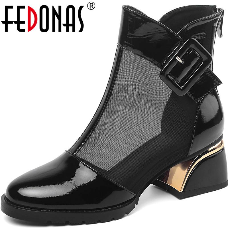 FEDONAS Newest <font><b>Women</b></font> Elegant Round Toepumps Spring Summer Night Club Back Zipper Pumps Patent Leather Button <font><b>Sexy</b></font> <font><b>Shoes</b></font> <font><b>Woman</b></font> image