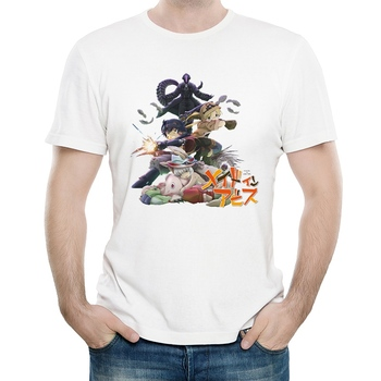 Made in Abyss T Shirt White Color Mens Fashion Short Sleeve Made in Abyss Logo T-shirt Tops Tees tshirt Casual Unisex T-shirt