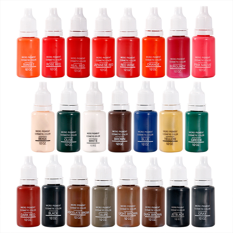 Tattoo Ink Pigment For Permanent Makeup Easy To Wear Micro Pigment Eyebrow Eyeliner Lip Body Tattoo Art Beauty Tools 23colors