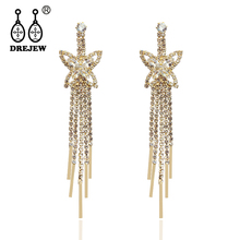 DREJEW Butterfly Long Tassel Statement Earrings 2019 Gold Silver Crystal 925 Drop Sets for Women Wedding Jewelry HE2801