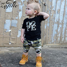 цена ZAFILLE Baby Boy Clothes Summer Cotton Letter Top+Camouflage Pant Sets Short Sleeve Kids Clothes 2020 New Baby Boys Suits Sets онлайн в 2017 году