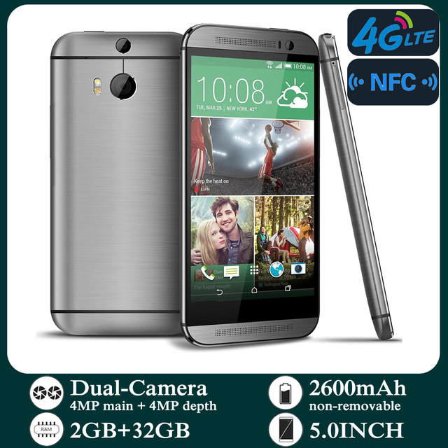 Original Smartphones M8 4G-lte Unlocked 5.0inch Android 2GB RAM 32GB ROM Cellphone 1080P 1080x1920 pixels NFC Mobile Phones 4