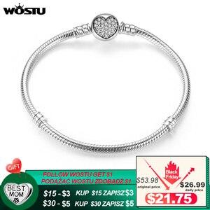 Image 1 - Luxe 100% 925 argent Sterling étincelant coeur serpent chaîne ajustement Original bracelet à breloques & bracelet pour les femmes bijoux fins XCHS916