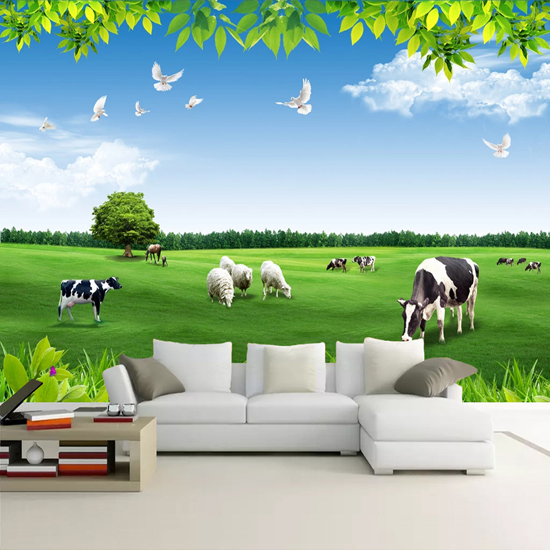 Custom Wall Mural Paper Blue Sky White Clouds Cows Grassland Natural Scenery 3D Photo Background Living Room Bedroom Wallpaper