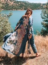 цена на 2020 Waterfall Maxi Duster Boho Long Kimono Jacket Cardigan Floral Print Beach Robe Wide Sleeve Kimono Women Shirt Jacket Coat