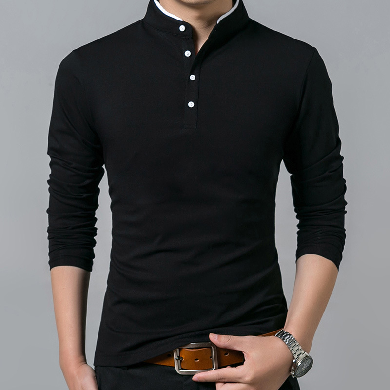 Cotton T Shirt Men Solid Collar Long Sleeve Tshirt Fashion New Solid Tops Tees Brand Shirt Men Slim Fit Shirt Plus Size M-5XL